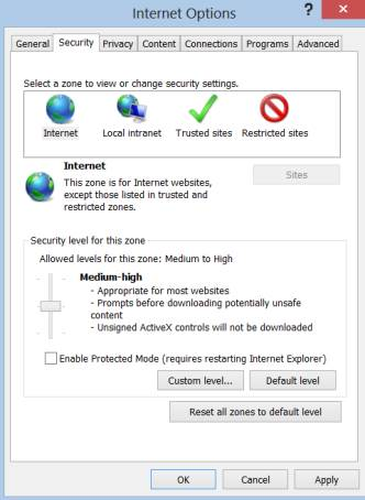 Uncheck Enable Protected Mode in IE
