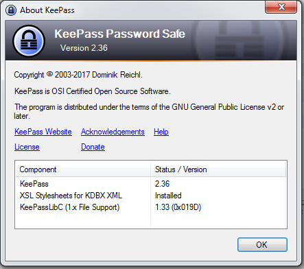 Showing KeePass Version 2.36