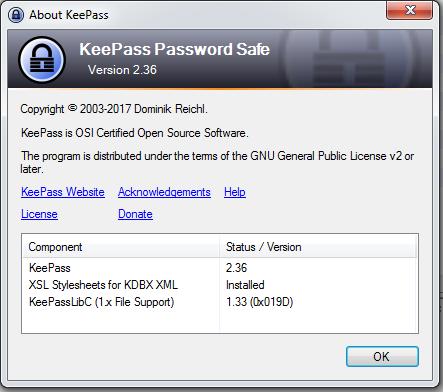 Showing KeePass Version 2.36