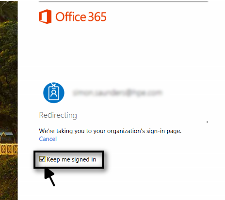 Keep me signed in Office 365