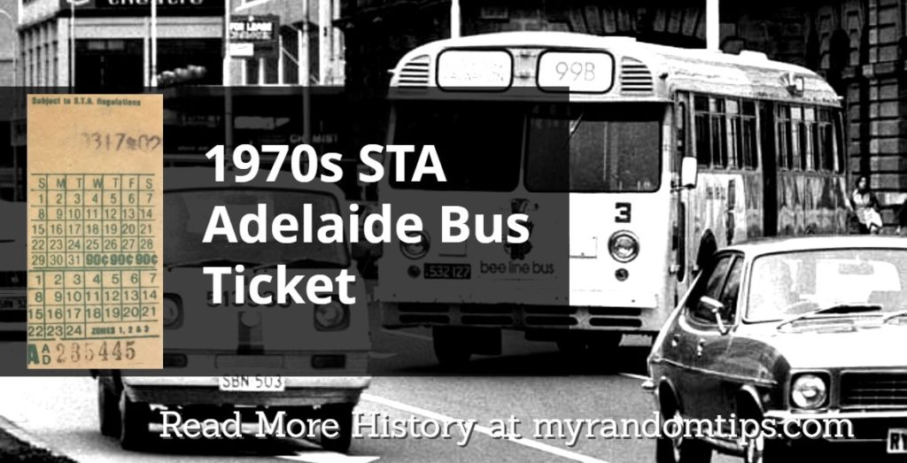 Bus Ticket from Adelaide Australia during the 1970s